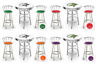 FC582 IGUANA LIZARD THEME 3 PIECE BAR TABLE SET WHITE TOP & 2 CHROME BAR STOOLS