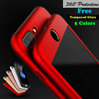 For iPhone 5 SE 6S 7 Plus 360° Full Protective Slim Case+Tempered Glass Cover
