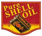Gas Service Station Gasoline PURE OIL Shell Metal Sign Man Cave Garage Body Shop