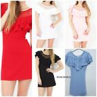 Women's Wide Fish Net Scoop Neck Micro Mini Dress Party Girls Pencil Skirt Dress