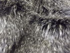 Super Luxury Faux Fur Fabric Material - BLACK GREY CHEVRON PEACOCK