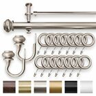 """IMPERIAL 1.25"""" Double Curtain Drapery Rod Set Pewter 28"""" - 240"""" Oversized"""