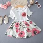 US Toddler Kids Baby Girls Lace Tops+Skirt Dress Summer Outfits Clothes 2PCS Set