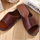 Summer Home Slippers for Men Genuine Cow Leather Slip On Flats House Floor Shoes