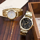 New Fashion Women Men Gold Stainless Steel Band Analog Quartz Wrist Watch Unisex image