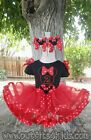 Personalized Red and Black Minnie Mouse Ribbon Trim Tutu Birthday Outfit