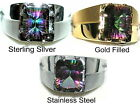 Men's Large Concave Mystic Topaz Ring ~Exclusive Style~ You pick setting color