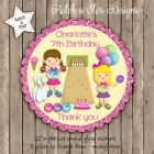 JUMPING CASTLE GIRLS PERSONALISED ROUND SCALLOP GLOSS PARTY STICKERS X 12