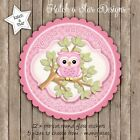 OWL PINK BABY SHOWER PERSONALISED SCALLOP CIRCLE GLOSS PARTY STICKERS X 12