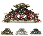 USA X Large antique style metal flowers Rhinestones Crystal hair claw Clip pins