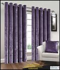 AUBERGINE Natural Crushed Velvet Pair of Fully Lined Ring Top Eyelet Curtains