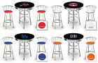 furniture for man cave - FC517 MLB THEMED BLACK AND CHROME BAR TABLE SET FOR MAN CAVE, PUB OR GAME ROOM
