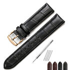 18MM-24MM Croco Grain Genuine Calf Leather Strap Watch Band Rose Gold Buckle New