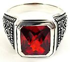 RED SAPPHIRE TRIBAL CELTIC STERLING 925 SILVER RING
