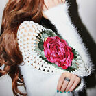 New Womens Fashion Lady Casual Long Sleeve V Neck Embroidery Tops Blouse Hot