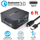 [Certified] Quick Charge 3.0 Fast Home Travel Wall Charger +6FT USB Type C Cable
