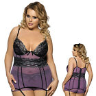 Babydoll Lingerie Women Holiday Lace Mesh Panty Purple Plus Size M-5XL 2PC Set