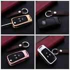 Key Cover For Buick Key Fob Pop Aluminum Metal Genuine Leather Wrap Car Key Case