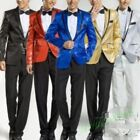 Men Tuxedo Suits Slim Fit Stage Jackets Glitter Polo Collar Overcoat Coats Pant