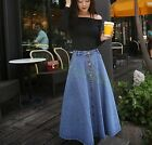 Hot Fashion Women Retro A-line High Waist Vogue Long Denim Casual Skirt Dress