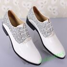 Gentleman Pointed Toe Rhinestone Lace Up Wedding Leather Shoes Casual Office