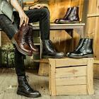 men's casual leather shoes vintage retro ankle boots lace up round toe fashion