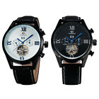 Noble Day Date Automatic Mechanical Tourbillon Black Leather Men's Watch Gift