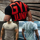 Mens T Shirt Fitness Athletic Letter Print Crew Neck Gym Musclefit Training Tee