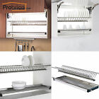 Probrico Stainless Steel 2-Tier Dish Drying Racks Plate Bowls Holder for Cabinet