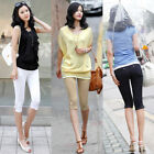 Casual Women's Summer Hot Fashion Cropped Pants Trousers Capris Stretch Trousers