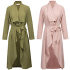 Womens Waterfall Loose Jacket Cardigan Tops Open Front Trench Parka Duster Coat