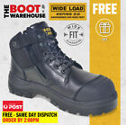Wide Load 'S3' 690BZ Extra Wide, Steel Cap Safety Boots. Premium Black. Side Zip