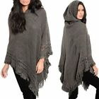 Us Warm Women Knit Batwing Top Poncho Hoodie Cape Cardigan Coat Sweater Outwear