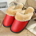 Womens Indoor Shoes Synthetic Leather Fluffy Plush Lining Slip On Comfy Slippers