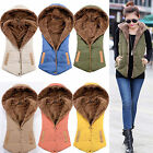 Women Winter Fleece Vest Sleeveless Coat Hooded Hoodie Jacket Waistcoat Outwear