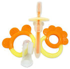 Baby Teether Gift Set ~ Teething Rings, Finger Brush & First Silicone Toothbrush