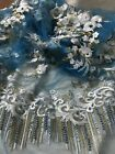 3D GORGEOUS EMBROIDERED FLORAL PEARLS BRIDAL DRESS TULLE FABRIC -  5YDS LOT