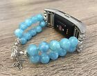 Handmade Light Blue Jade Natural Stones Beads Band Metal End For Fitbit Charge 2