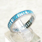 EXQUISITE 4MM AQUAMARINE 925 STERLING SILVER BAND RING SIZE 5-10