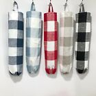 Handmade Plastic Grocery Bag Holder, Dispenser Plaid, Check Black, Red, Blue