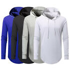 Men New Casual Fashion Running Sport Solid Color Hooded Tops Tee Shirt Sweater