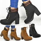 New Ladies Womens Chunky High Heel Combat Army Lace Up Biker Ankle Boots Shoes