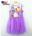 2018 Summer Girls Sofia The First Princess Sleeveless Party Birthday Dress O42