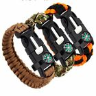Compass Survival Rope Paracord Bracelet Flint Fire Starter Whistle Camping Hot