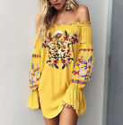 Floral Embroidered Off Shoulder Long Sleeve Dress Peasant Gypsy Boho Tops S - XL