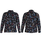 Women New  Black Floral Shirt  Collared Long Sleeve Button Blouse Top 4-14 UK