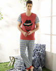 Lovely 2018 New Leisure Cotton 2PCs Men's Short Sleeves Pajama Sets L/XL/2XL/3XL