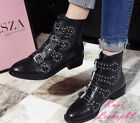 Punk Rock Women Studded Buckle Fur Lined Ankle Snow Boot Moto Biker Real Leather