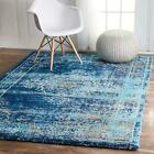 nuLOOM Traditional Persian Vintage Distressed Shag Area Rug in Blue