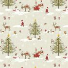 Fryetts Christmas Woodland Cotton PVC Fabric WIPE CLEAN Tablecloth Oilcloth